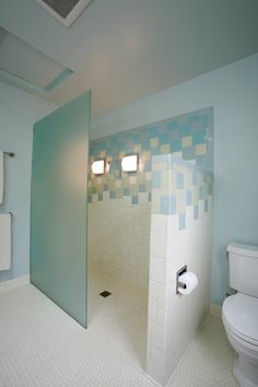 beautiful doorless shower designs with turquoise tile wall and honeycomb floor base