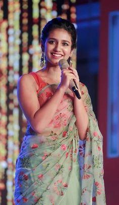 Priya Varrier in Saree Simple Sarees, Trendy Sarees, Stylish Sarees, Fancy Sarees, Beautiful Saree, Beautiful Indian Actress, Beautiful Actresses, Beautiful Bollywood Actress, Beautiful Soul