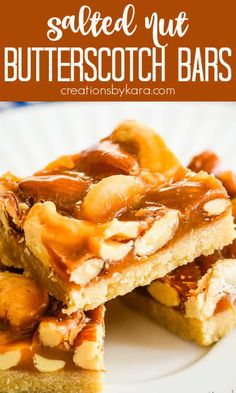 Recipe for easy Butterscotch Mixed Nut Bars - sweet, salty, ooey gooey, and crunchy all rolled into one scrumptious treat. These bars are super easy to make, and taste amazing! #butterscotchnutbars #mixednutbars #butterscotchmixednutbars #butterscotchnutbars -from creationsbykara.com Bite Size Desserts, Desserts For A Crowd, Fun Desserts, Delicious Desserts, Dessert Recipes, Yummy Food, Drink Recipes, Crunchy Cookies Recipe, Easy Cookie Recipes