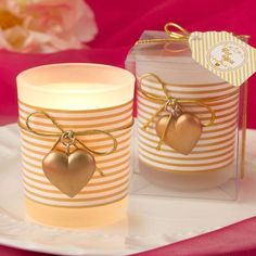 Charmed Gold Heart Candle Votives