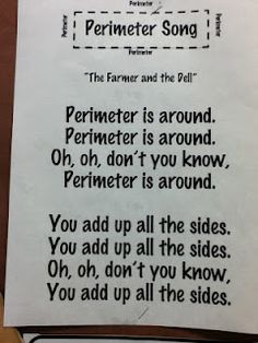 Perimeter Song...used this last year with third graders. It was a hit. We also found one on area.