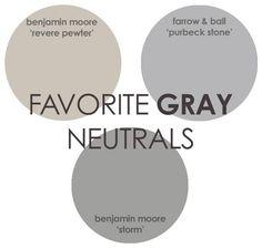 Gray Paint Color. Revere Pewter Benjamin Moore, Storm Benjamin Moore, Purbeck Stone Farrow and Ball. #GrayPaint #GrayPaintColor Via Rhiannons Interiors.