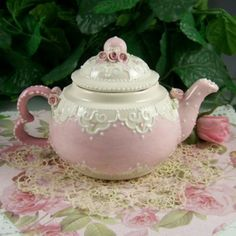 Shabby Chic Grandma's teapot, Pink with White Scallops on a Doily and Pink Rose Table Cloth