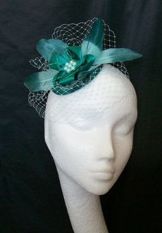 Small Vintage Aqua & Dark Teal Veil Feather and Pearl Wedding Mini Fascinator