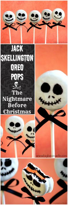 One of my favorite movies!! These are so easy to make too! Gotta make them for the Hallioween party! Jack Skellington Oreo Pops #SundaySupper - Big Bear's Wife