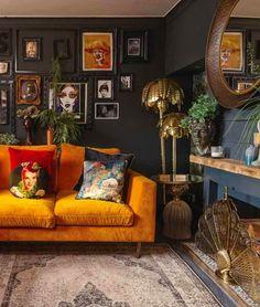 Burnt orange and charcoal - delicious! Orange Vintage - Fashion, Home, Cars, Interiors and Nostalgia For Kate Beavis Living Tv, Dark Living Rooms, Living Room Orange, Colourful Living Room, Living Room Colors, Living Room Sets, Home Living Room, Living Room Designs, Modern Living