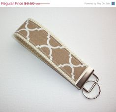 SALE  Key FOB / KeyChain / Wristlet   brown tan natural by Laa766   hand made / custom fabric patterns / designs for you, co-worker, friends / preppy / cute / personalized
