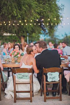 Mr & Mrs signs // Photo by  Lindsey Gomes Photography, see more: http://theeverylastdetail.com/mint-orange-california-vineyard-wedding/