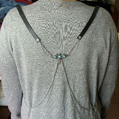 NWOT Harness NWOT Black leather harness with silver colored chains in back and silver turquoise eagle center charm that sits on center of your back when wearing it. (I think this one is free people too, can't remember, does not have tags) Free People Accessories Belts