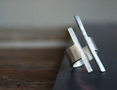 Balancing Act Ring- Modern Rough Cut Sterling Band