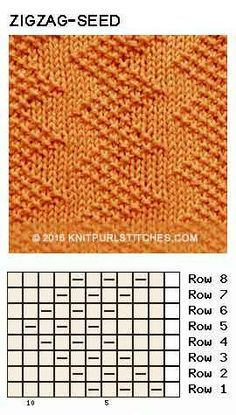 Just Knit and Purl - Zigzag Seed stitch. Just Knit and Purl Zigzag Seed stitch. Just Knit and Purl Knitting Stiches, Knitting Charts, Loom Knitting, Knitting Patterns Free, Knit Patterns, Crochet Stitches, Stitch Patterns, Knit Crochet, Free Knitting