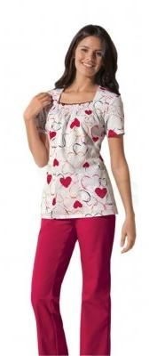 Dickies square neck medical scrub top with smocking around the neckline. With adorable heart prints for Valentine's Day or any other day.