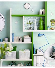 DIY green and white shelving