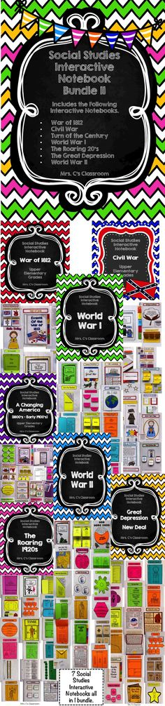 This Social Studies Interactive Notebook Bundle 2 covers War of 1812, Civil War, Turn of the Century (1800's-early 1900's, World War I, Roaring 20's, Great Depression, and World War II. This huge interactive bundle makes it easier to plan your Social Studies lessons. All sections of the interactive notebook bundle give you choices of using some or all of the pages. $