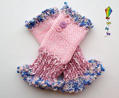 Fingerless Handwarmers  Daisy Pink Frilly Fingers  by StripyKite