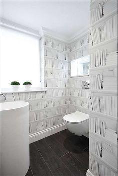 toilette blanc papier peint trompe l'oeil