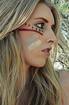 Doing this type of face paint for football games next year. Can't wait for football season!!