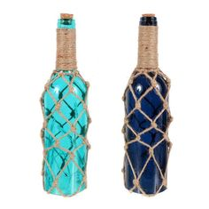 LED Light-Up Knotted Jute Wrapped Wine Bottle   Nautical Theme Party Decorations