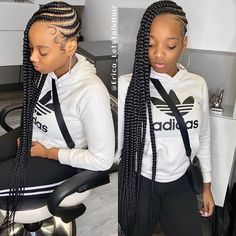 The longer the hair, the longer they stare! Casual Braided Hairstyles, Dope Hairstyles, Cute Hairstyles For Short Hair, Black Girls Hairstyles, Braid Hairstyles, Curly Hair Styles, Natural Hair Styles, Protective Hairstyles, Plait Braid