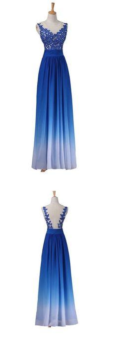 Hot Sale Gradient Blue Lace Appliques Evening Party Cocktail Prom Dres – AlineBridal
