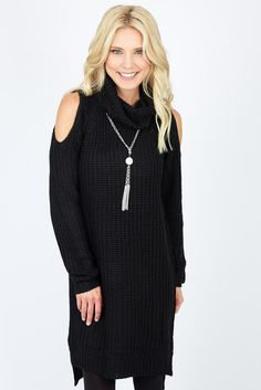 """Turtleneck Shoulder Cut Out Sweater Dress BLACK - Another sweater I am completely obsessed with. Even though it says it's a dress on my 6'4"""" frame it's a tunic so I wear it with either jeans or patterned/colorful leggings. $118"""