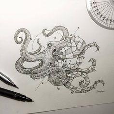 Oeuvre by Kerby Rosanes - La pieuvre (Série Geometric Beasts) Octopus Tattoos, Octopus Art, Octopus Sketch, Octopus Drawing, Tribal Tattoos, Geometric Drawing, Geometric Shapes, Geometric Animal, Geometric Sleeve