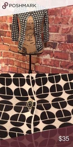 Trina Turk cardigan/ black and cream Black and cream/ black enamel buttons/ 3/4 sleeve Trina Turk Sweaters Cardigans