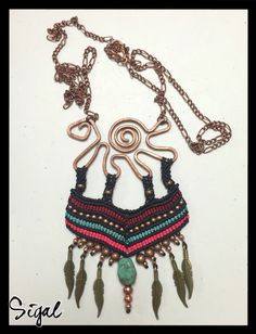 #micro_macrame_necklace #tribal necklace turquoise bead and metal beads on cooper structure