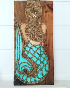 Vertical Mermaid x — M Street Artwork Mermaid Crafts, Seashell Crafts, Beach Crafts, Mermaid Wall Art, Mermaid Room, Rope Art, Beach Design, Pallet Art, Shell Art
