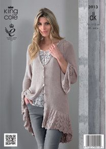 Womens' Lace Cardigan in King Cole Bamboo Cotton DK - 3913