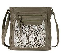 Scarleton Fashion Lace Crossbody Bag H174014 - Khaki Scar...