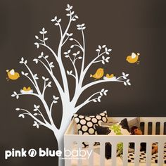 Tree Wall Decals Two nests on the Tree   Nursery by pinknbluebaby