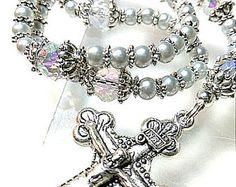 Antique style Tahitian grey silver 4-5mm shell pearl Catholic prayer religious bead rosary -    Edit Listing  - Etsy
