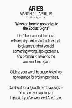 "how to apologize to an Aries lol makes me laugh because i haven't seen ""how an aries should apologize""... that's way harder to verbalize"