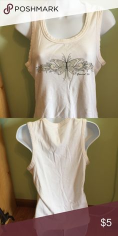 White tank top Cute tank top with butterfly design no size tag but I think it could be large or XL Tops Tank Tops
