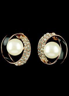 Pendientes círculo diamante perlas dorados EUR€6.46