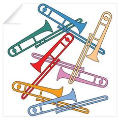 Colorful Trombones Wall Art Wall Decal