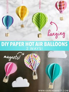 How cute did these DIY Paper Hot Air Balloons come out? They're so easy to make, and would brighten up any room. Watch the DIY video here for the step by step instructions and check out the blog post...