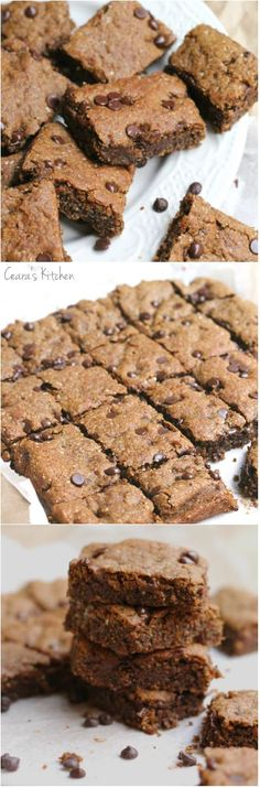Healthy Chocolate Chip Blondies (Gluten Free + Vegan) are the perfect amount of super chewy+ crispy on the outside as well as thick + goeey in the middle. #glutenfree #vegan #healthy #oilfree #healthybaking #glutenfreebaking #blondies #recipe