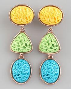 Oscar de la Renta Pastel Carved Cabochon Earrings #pastels