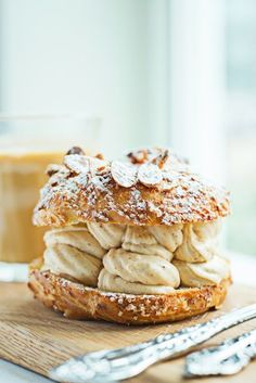 Chez Billy Sud's traditional Paris-Brest pastry is shaped like a wheel, and was inspired by a bike ride between Paris and Brest. Photograph by Scott Suchman. Serves 4 Make the praline: 1 cup hazelnuts 1 cup sliced almonds ½...