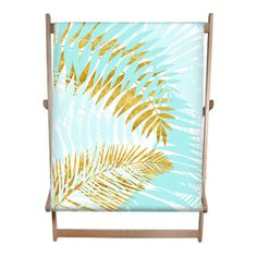 Aloha- Tropical Palm Leaves Garden Double Deckchair #Aloha- Tropical Palm Leaves Garden  Cool Double #Deckchair  By #UtART  Cool and fresh #jungle design of #aqua turquoise and #gold #palm #leaves on white. It makes a beautiful design for #summer #vibes #home decoration and #beach #feeling. Designed with Love by UtART.