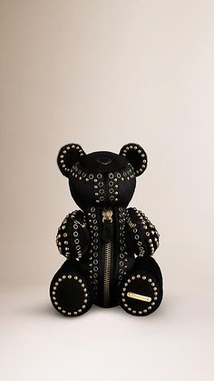 Calf hair teddy bear from Burberry - Italian hand-made collector's piece, calf hair with polished metal stud and eyelet embellishments, with moveable arms and legs and trimmed in soft suede. Each bear is unique! Punk Fashion, Grunge Fashion, Burberry Bear, Garden Boots, Gucci Baby, Thing 1, Soft Suede, Inspirational Gifts, Chennai