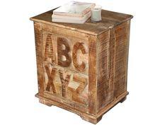 Nachttisch ABC aus Mangoholz massiv im Shabby Chic Stil - Loft24.de