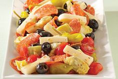 Try a delicious Italian favorite of antipasto. With artichoke hearts, pepperoni slices, cherry tomatoes and more, this makes a great appetizer or side.