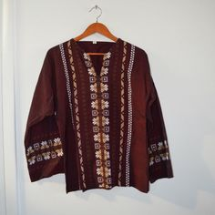 Maroon Indian Ikat Southwestern Boxy Drug Rug Top Very unique (: Not UO, just listed for exposure! Urban Outfitters Tops Tees - Long Sleeve