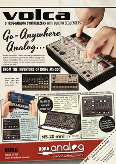 KORG Analog Synthesizers Volca Bass Beats Keys - Monotron Duo Delay - MS-20 Mini - Monotribe - Future Music Ad