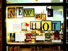 """New & Hot"" library book bulletin board display"