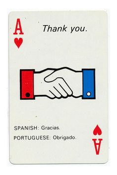 International flights often came with cards teaching the basics of the language of the destination :: Braniff Airlines playing cards |1968 by Scott Lindberg
