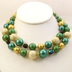 Vintage 60s Necklace Green Gold Multi Strand by Revvie1 on Etsy, $18.00